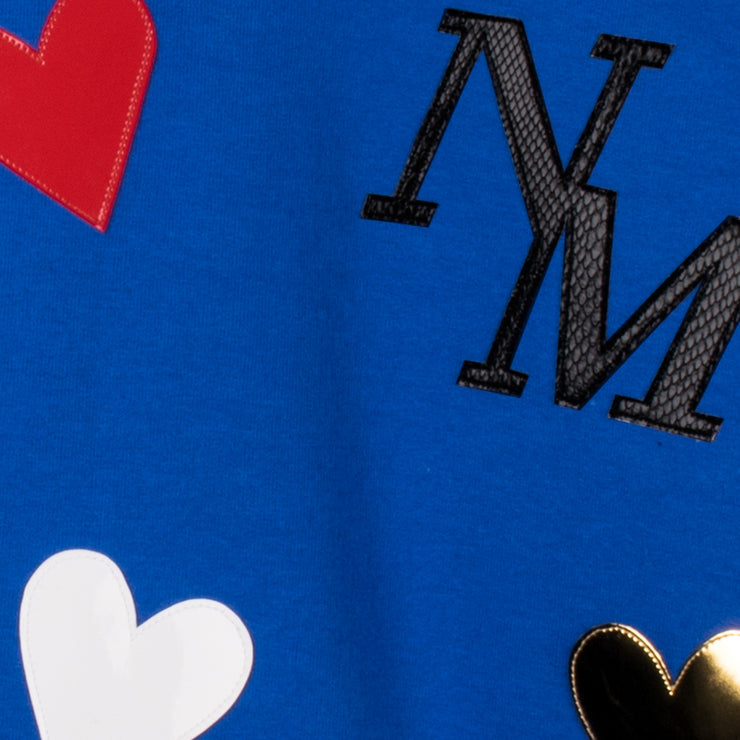 "Sweatshirt ""Hearts"" - royal blue (detail application)"