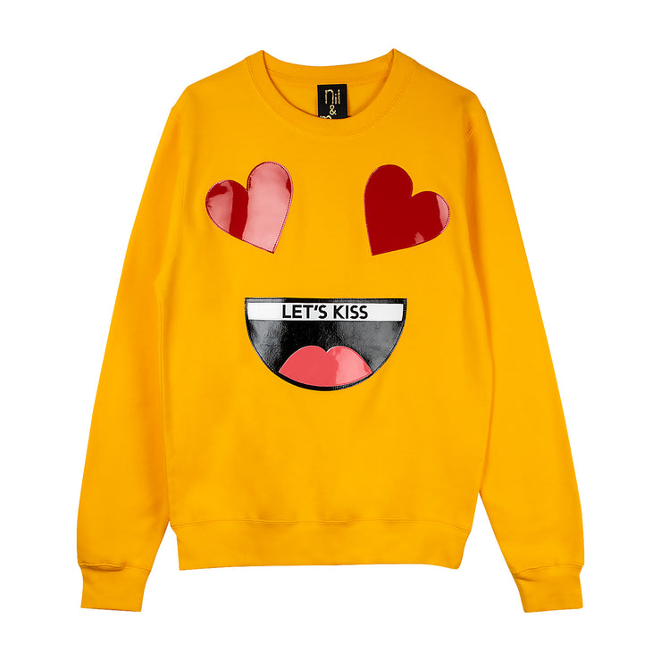 "Sweatshirt ""Let's Kiss"" - yellow"