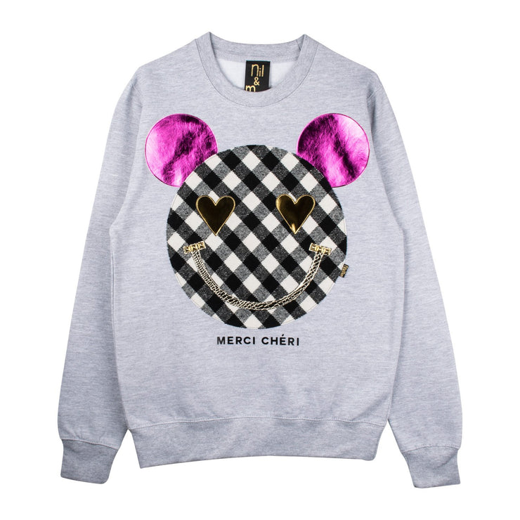 "Sweatshirt ""Merci Cheri"" - grey melange"
