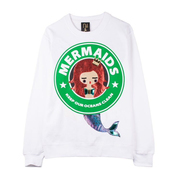 "Sweatshirt ""Mermaids"" - white"