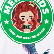 "Sweatshirt ""Mermaids"" - white (detail application)"