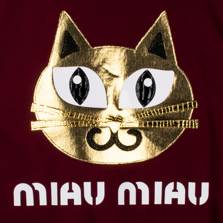 "Sweatshirt ""Miau Miau"" - burgundy (detail application)"