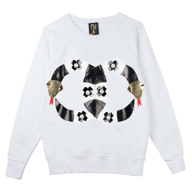 "Sweatshirt ""Pearly Snakes"" - white"