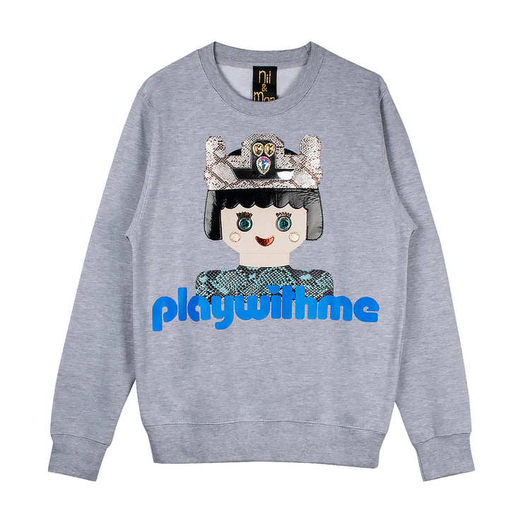 "Sweatshirt ""Playwithme"" - grey melange"