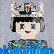 "Sweatshirt ""Playwithme"" - grey melange (detail application)"