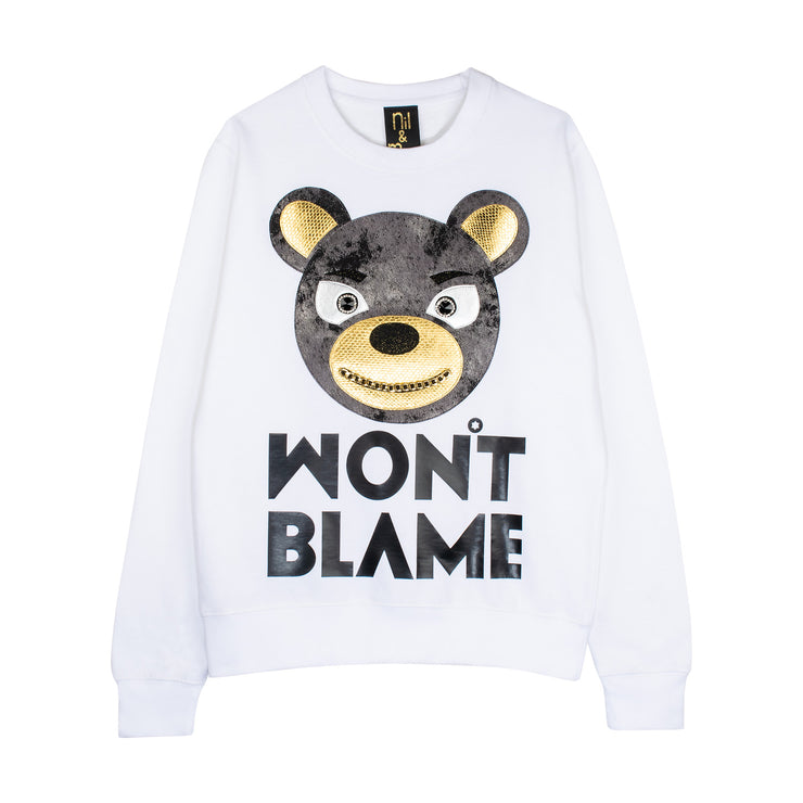 "Sweatshirt ""Won't Blame"" - white"