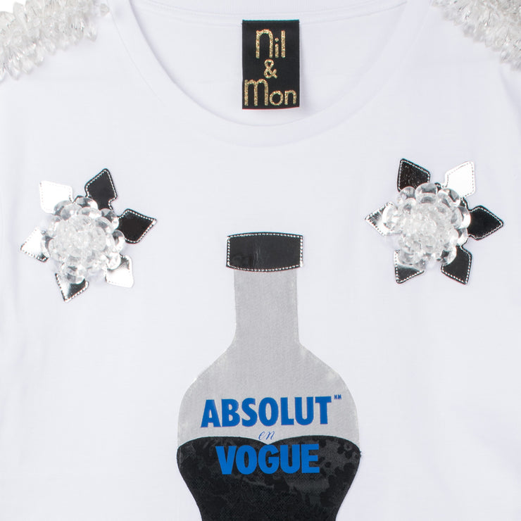 "T-Shirt ""Absolut Vogue"" - white (detail application)"