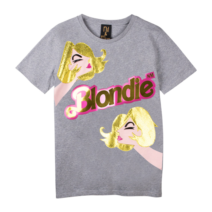 "T-Shirt ""Blondie Girl"" - grey melange"