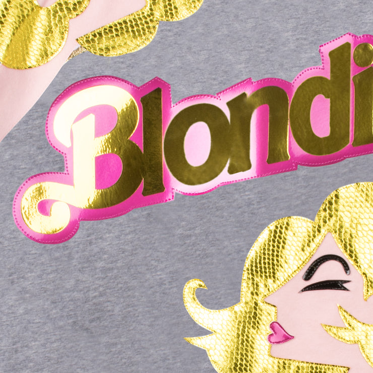 "T-Shirt ""Blondie Girl"" - grey melange (detail application)"