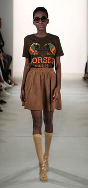 "T-Shirt ""Horses"" - brown (model)"