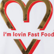 "T-Shirt ""Love Fastfood"" - white (detail application)"