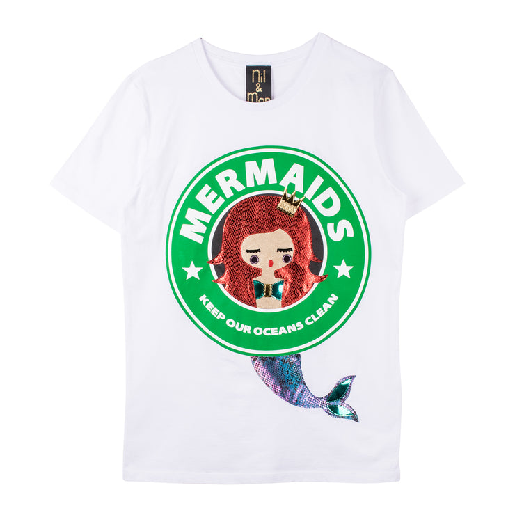 "T-Shirt ""Mermaids"" - white"