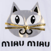 "T-Shirt ""Miau Miau"" - white (detail application)"