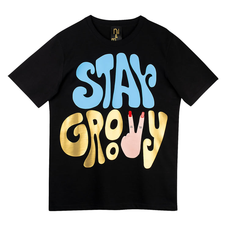 "T-Shirt ""Stay Groovy"" - black"
