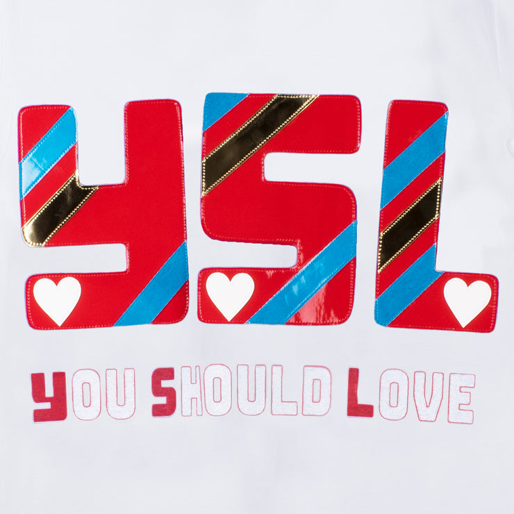 "T-Shirt ""You Should Love"" - white (detail application)"