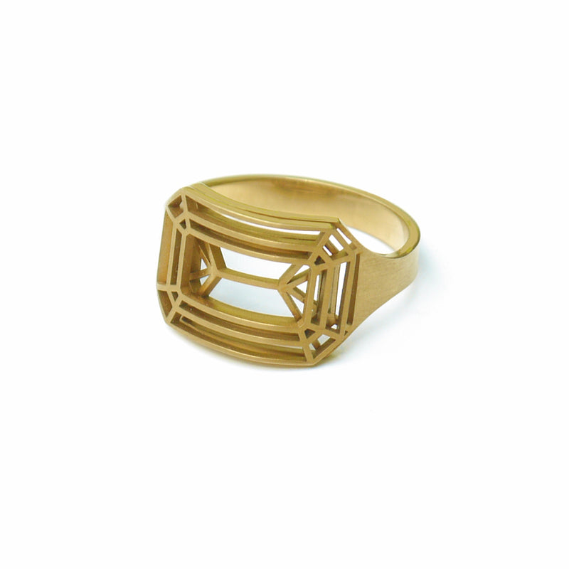 cut Ring eckig goldfarben - KISSDESIGN.DE