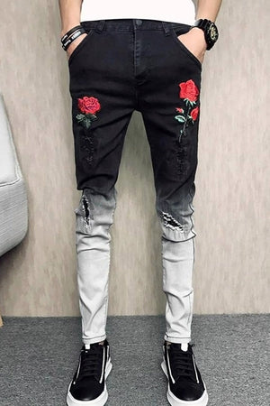 Rose Embroidered Denim