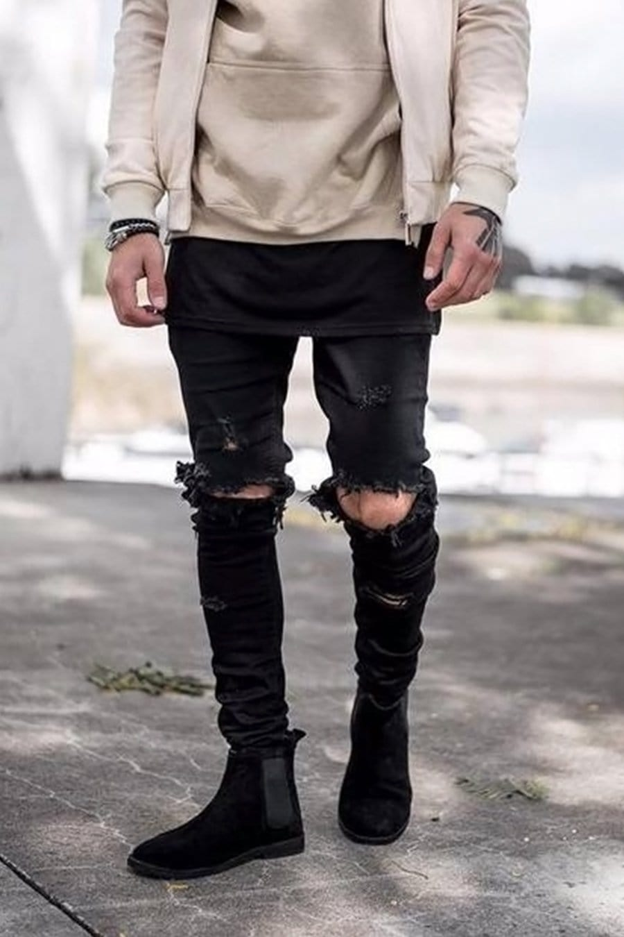 Men's Biker Denim Jeans