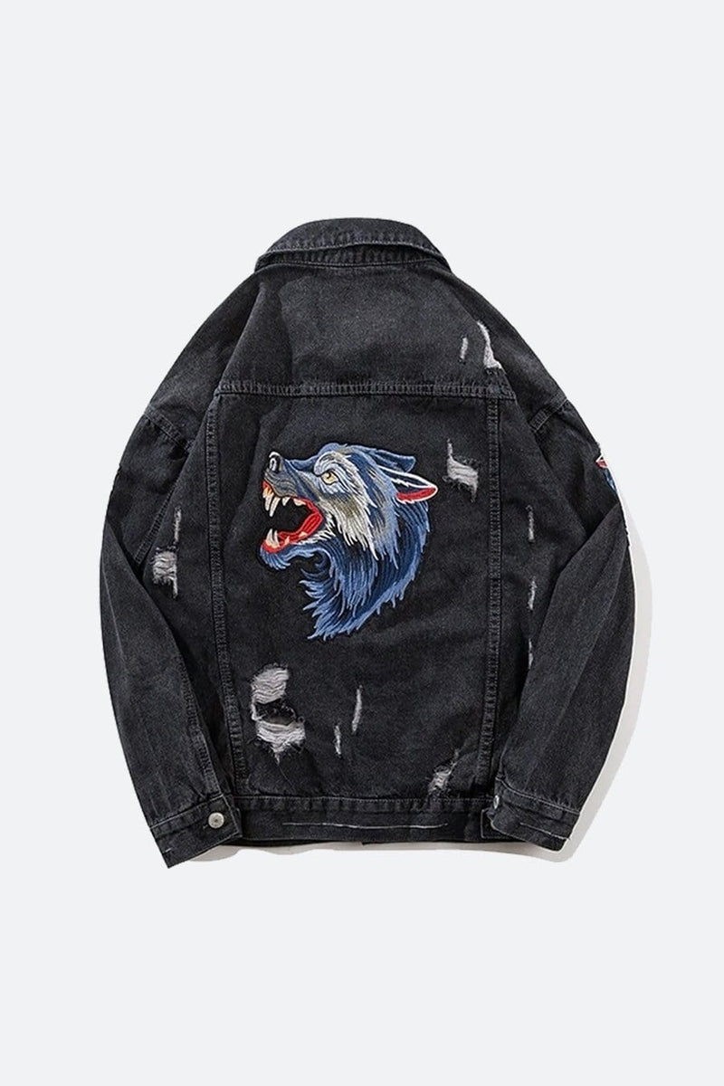 Wolf Embroidery Denim Jacket