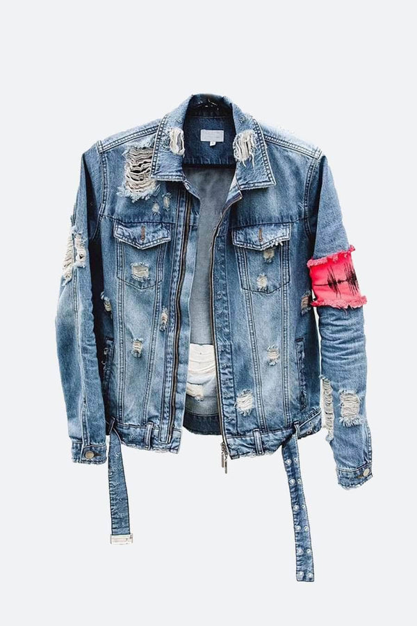 [DESIGNER] Destroyed Arm Band Denim Jacket