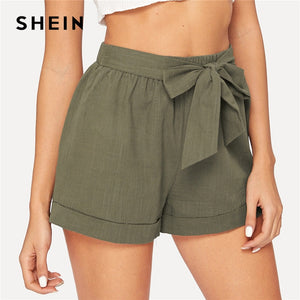 4422c9c869 SHEIN Self Belted Elastic Waist Shorts Fitness Swish Women Army Green Solid Mid  Waist Shorts 2019