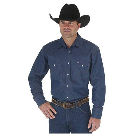 Wrangler Men's Authentic Western Long Sleeve Shirt (Size S) - Rekes Sales