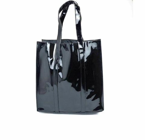Twelve NYC Glossy Black Patent Faux Leather Tote Shopper Gift Bag/Purse - Reke's Sales
