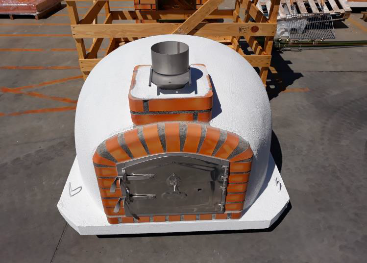 Wood-burning Pizza Oven with Orange Brick - Cinder Imports