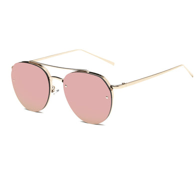 Women Fashion Circular Sunglasses Metal Frame Mirrored