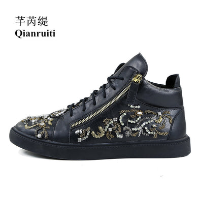 Rhinestone Embroidery High Top