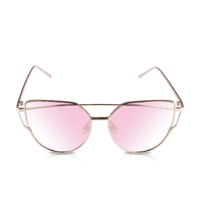 Cat Eye Women Sunglasses Metal Frame Flat Mirrored
