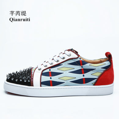 Spiked Low Top Patchwork