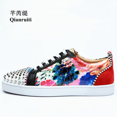 Floral Flat Lace-up Sneakers