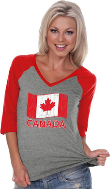 Distressed Canada Flag Ladies V-Neck Raglan Shirt, Small