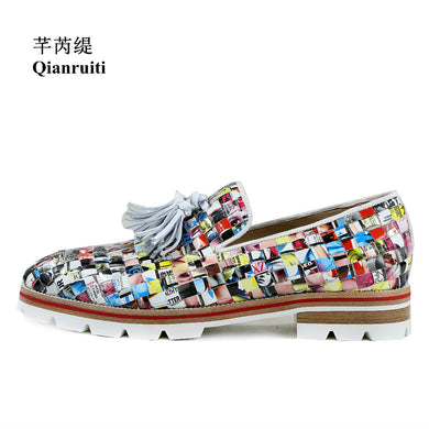 Graffiti Newspaper Flats Slip-on Casual Loafers