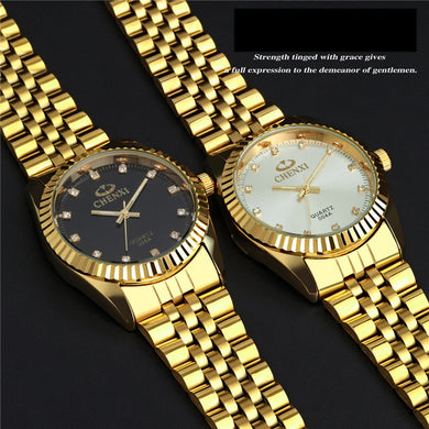 Gold Mens Watch Fashion Gold Watch Full Stainless Steel Quartz Watches Wrist Wat