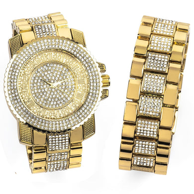 14K Yellow Gold Bling Master Watch/Bracelet Set