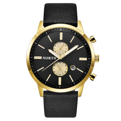 Luxury Gold Watch for Men, Casual Leather Watches for Boy, Military Waterproof Sport Quartz Wristwatches for Teenagers