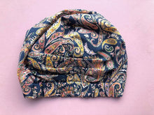 Ladies Turban Hat - Pink and Blue Liberty of London Paisley Print - Tot Knots of Brighton