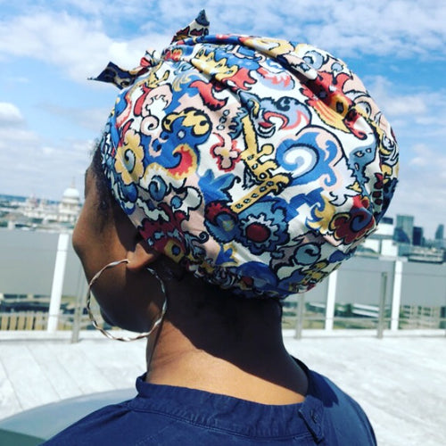 100% silk lined Turban & Head wrap in Blue and Pink Liberty of London Merchant print