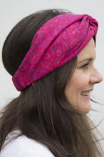Bright Pink Graphic Twisted Turban hairband and neck scarf in Liberty of London-Adult hairband-Tot Knots of Brighton