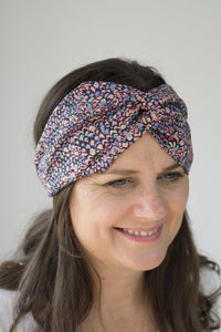 Twisted Turban hairband in Purple Adriatic Feather print in Lantana Liberty of London fabric-Adult hairband-Tot Knots of Brighton