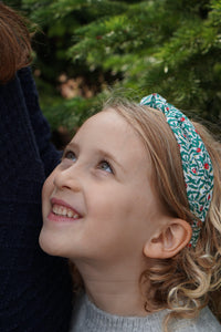 Kids Tot Knot Alice band - Liberty of London Red and Green Juniper Liberty print-Children hairband-Tot Knots of Brighton