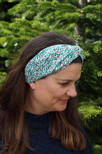 Ladies Twisted Turban hairband and neck scarf in Liberty of London Juniper Berry in Red and Green print-Adult hairband-Tot Knots of Brighton