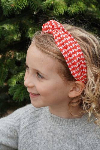 Kids Tot Knot Alice band - Liberty of London Red and White Jonathon Liberty print-Children hairband-Tot Knots of Brighton