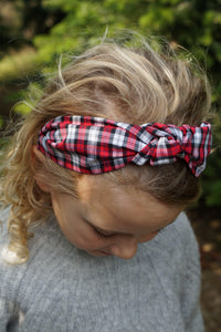Kids Tot Knot Alice band - Liberty of London Red and Black Check print