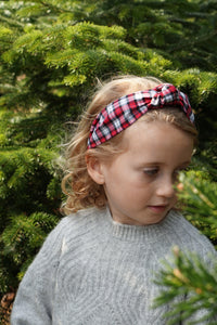 Kids Tot Knot Alice band - Liberty of London Red and Black Check print-Children hairband-Tot Knots of Brighton