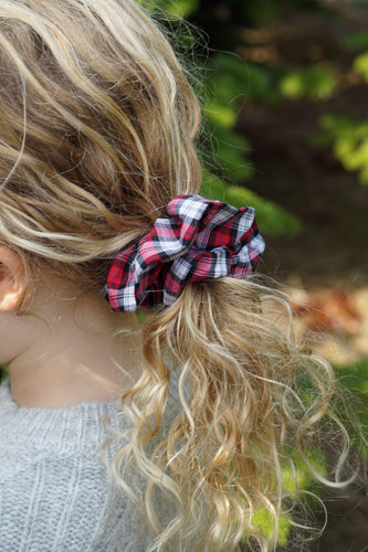 Red and Black Check Liberty print Scrunchie