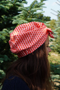 Ladies Turban Hat - Liberty of London Jonathan Red & White graphic print-Adult Turban Hat-Tot Knots of Brighton