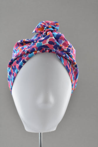 Luxury 100% pure silk Turban & Head wrap - Liberty of London Pink and Blue Graphic - Tot Knots of Brighton